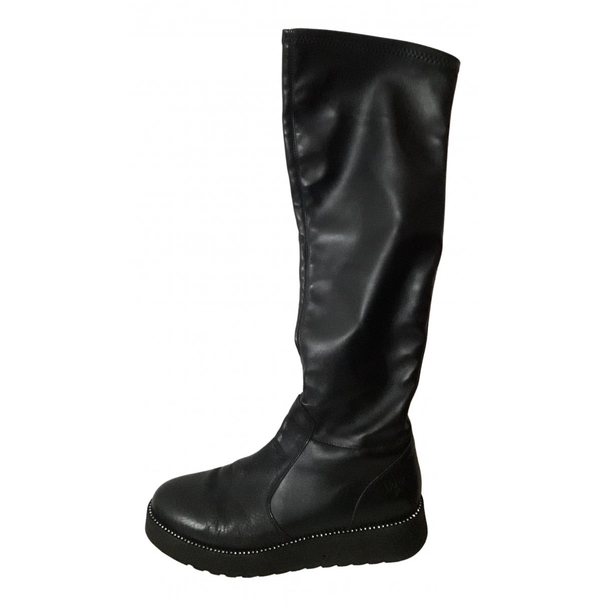 Liu.jo N Black Leather Boots for Women 39 EU