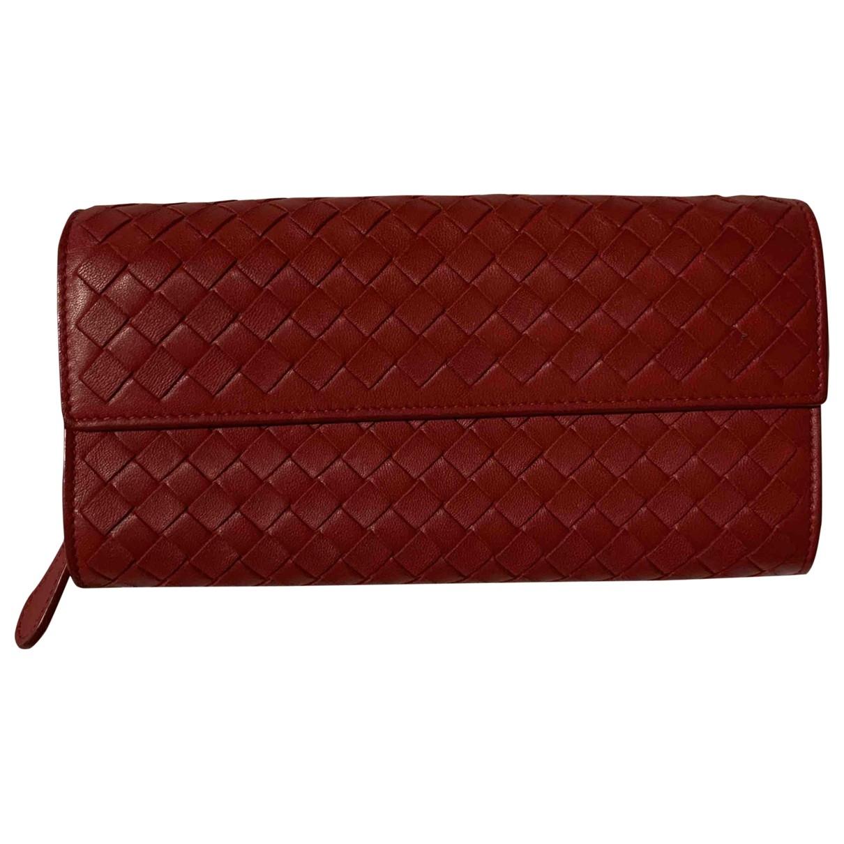 Bottega Veneta - Portefeuille Intrecciato pour femme en cuir - rouge