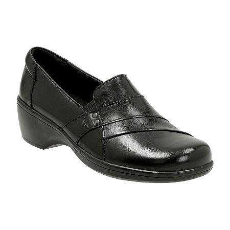 Clarks Womens May Marigold Slip-On Shoe, 8 Wide, Black