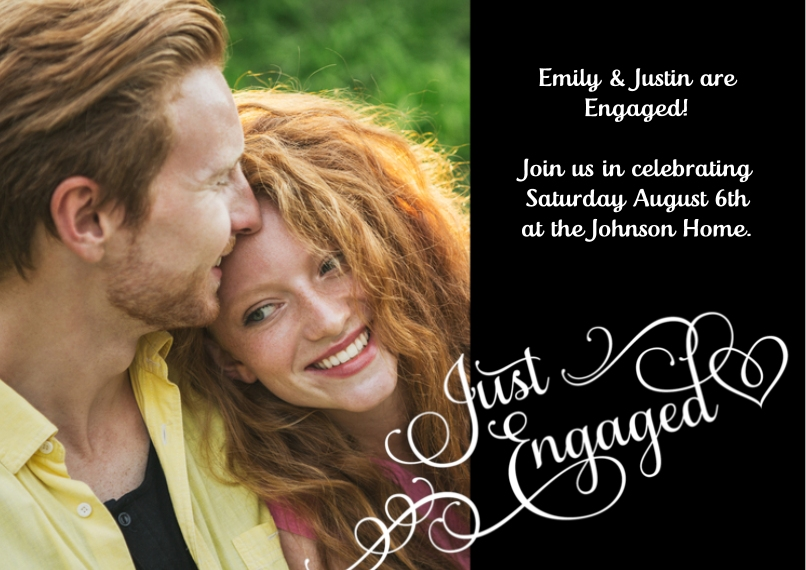 Engagement Party Invitations Flat Matte Photo Paper Cards with Envelopes, 5x7, Card & Stationery -Engaging Hearts