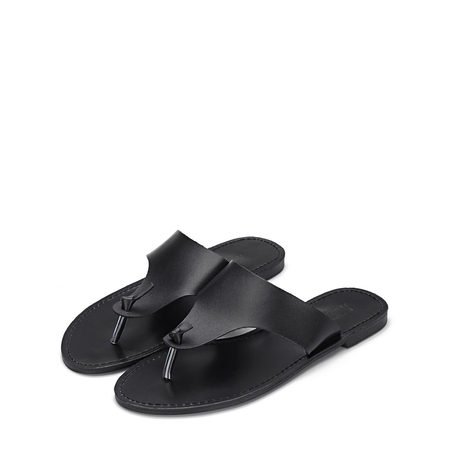 Yoins Black Leather Look Simple Style Toe Post Flat Slippers