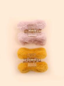 2pcs Faux Fur Decor Hair Claw