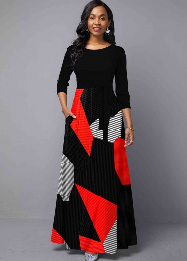 Black Dresses Round Neck Pocket Geometric Print Maxi Dress - XS