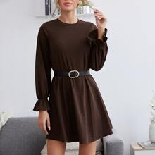 Solid Flounce Sleeve Dress Without Belt