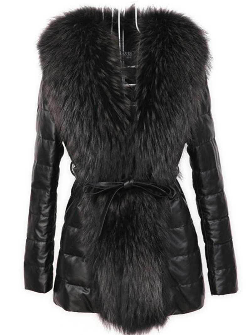 Ericdress Slim Faux Fur Mid-Length PU Jacket