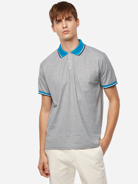 Yoins Gray Solid Color Neck And Sleeve Stripes Short Sleeve Lover's Men's Lapel Collar T-Shirt