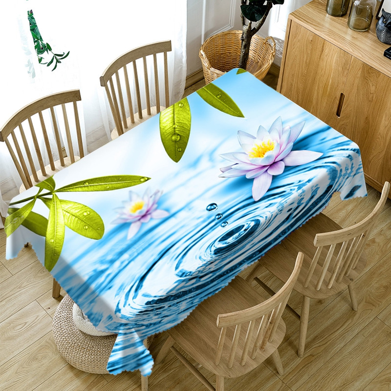 Polyester European Style Oilproof Printed 3D Tablecloth