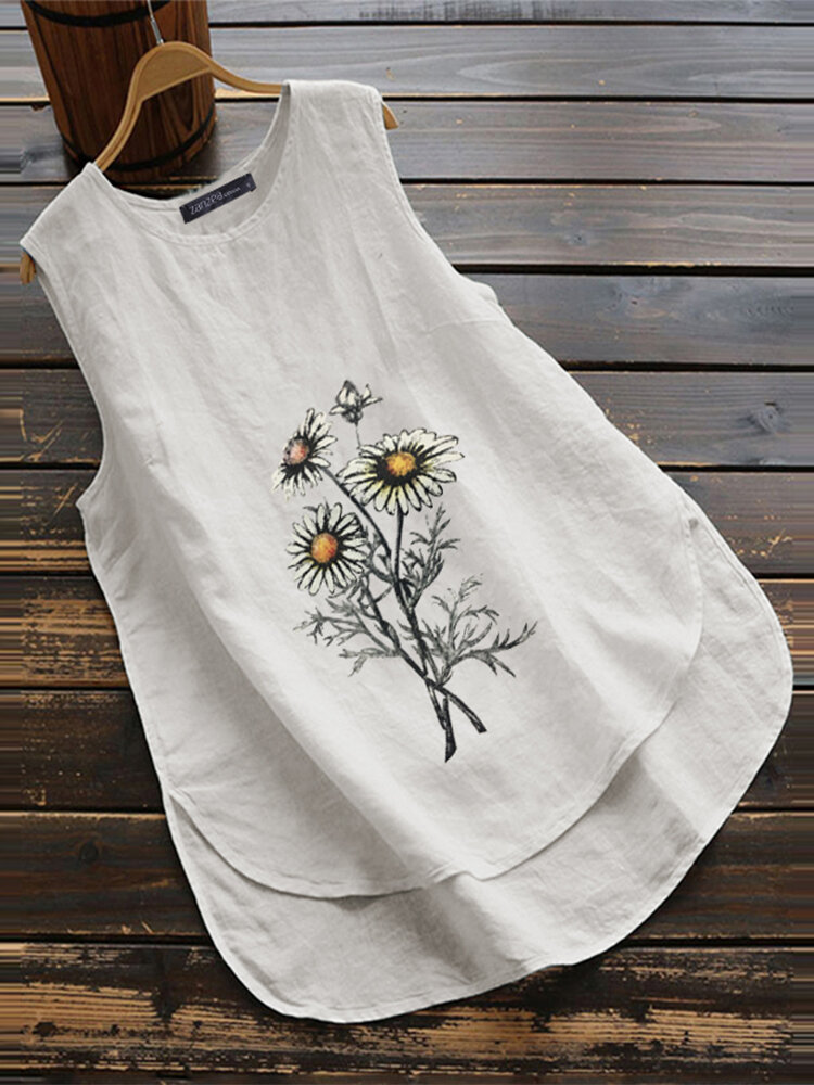 Embroidery Sunflowers O-neck Asymmetrical Plus Size Tank Top