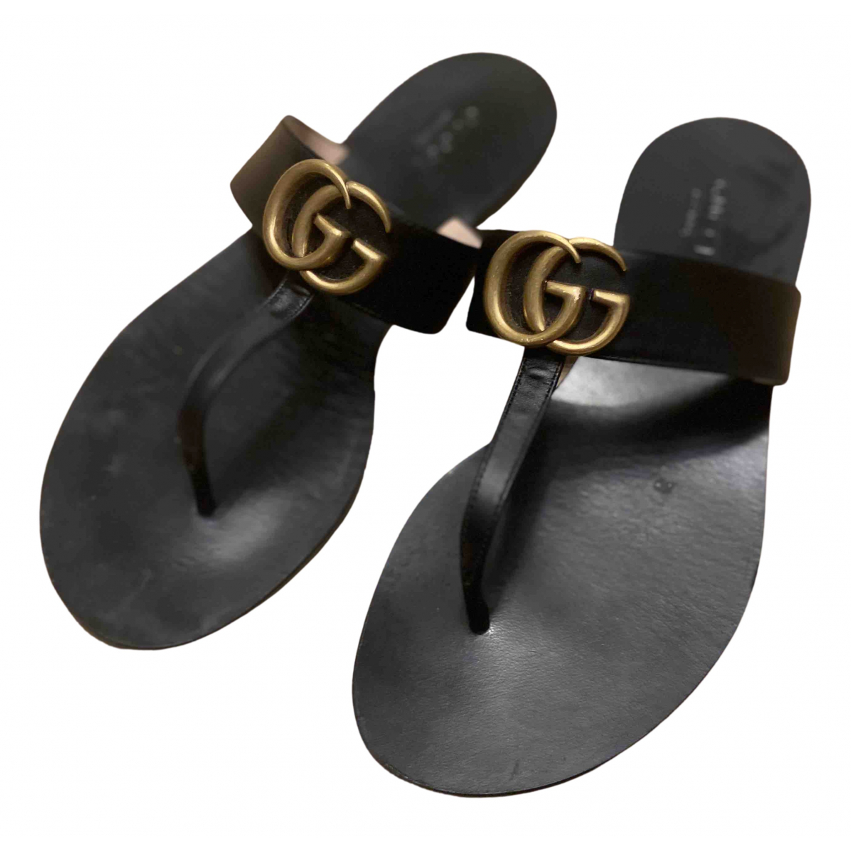 Chanclas Double G de Cuero Gucci