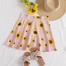 Sunflower Print Skater Skirt