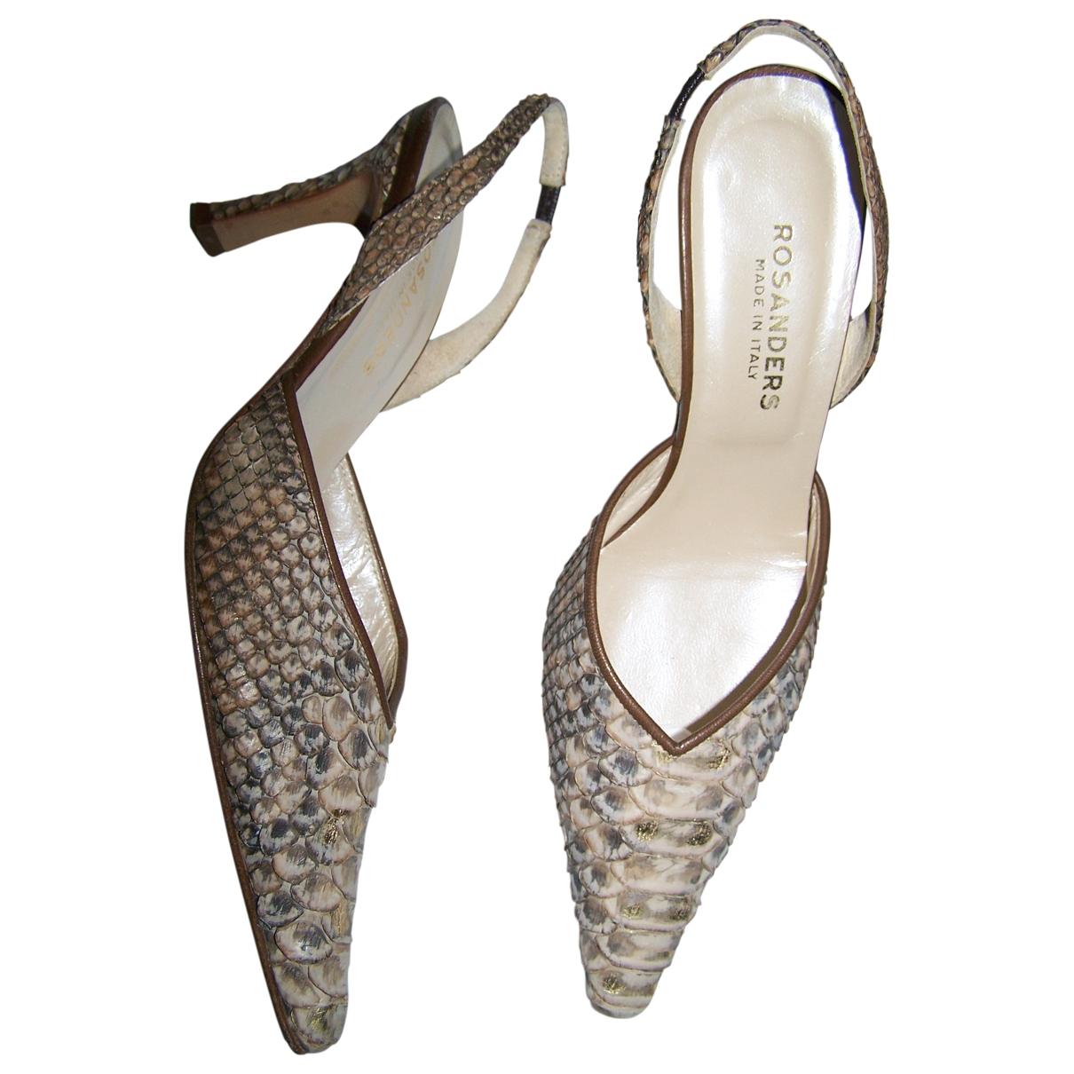 Non Signé / Unsigned \N Ecru Python Heels for Women 36.5 EU