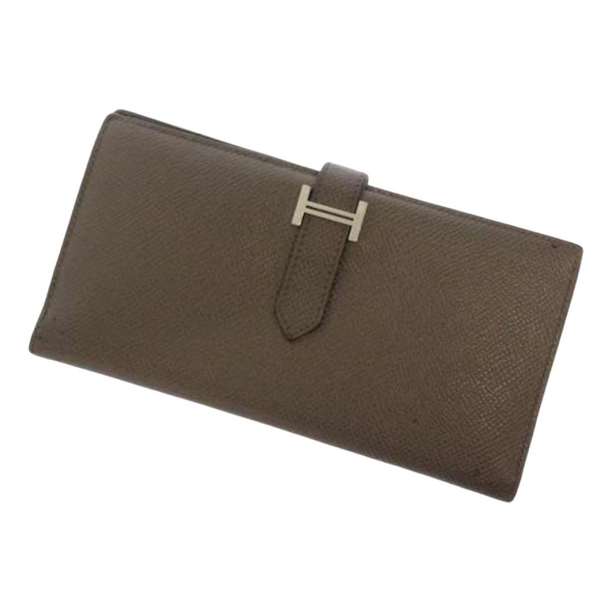 Hermes - Portefeuille   pour femme en cuir - marron