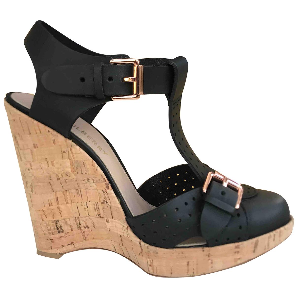 Mulberry - Sandales   pour femme en cuir - noir