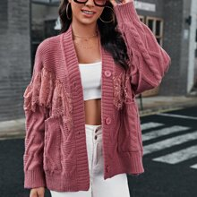 Contrast Lace Button Front Cardigan