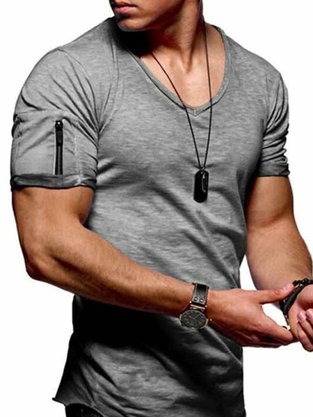 Yoins Men Elastic Sleeve Small Socket Solid Short Sleeve V-neck T-shirt