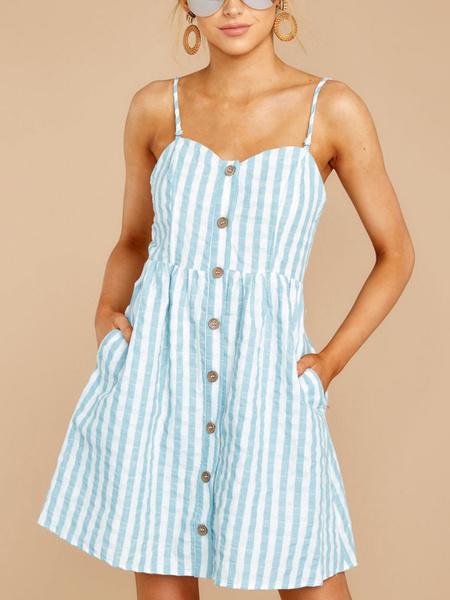 Milanoo Vestido de verano con rayas y botones sin espalda Vestido corto de playa con bolsillos
