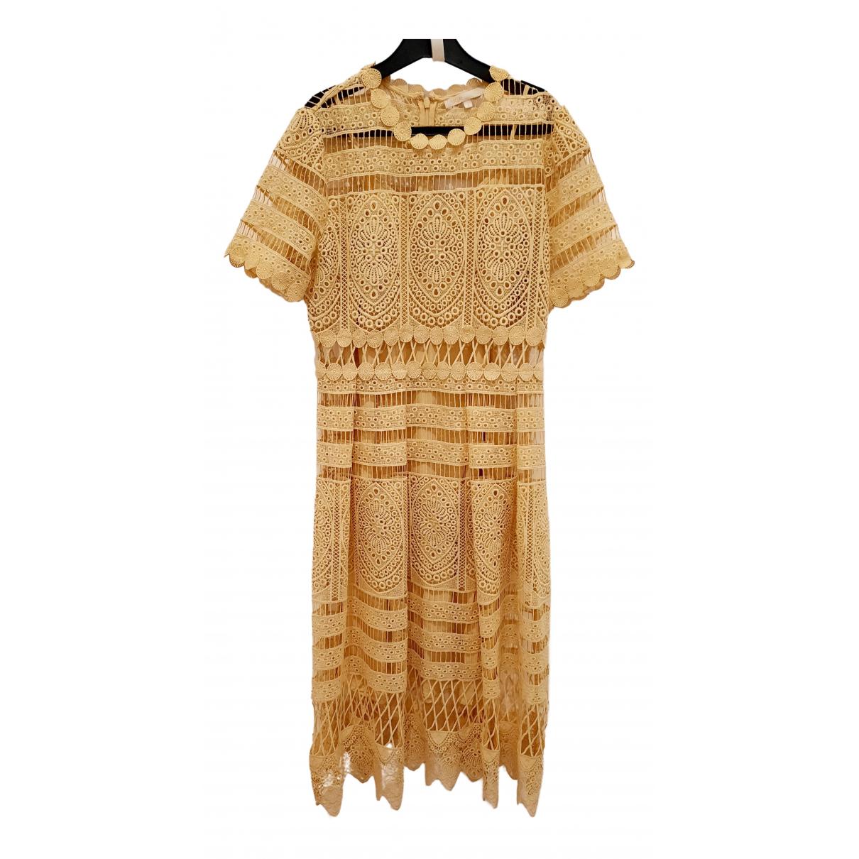 Maje Spring Summer 2019 Kleid in  Gelb Baumwolle