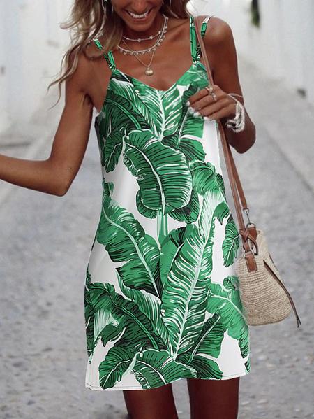 YOINS Backless Tropical Criss-cross V-neck Sleeveless Dress