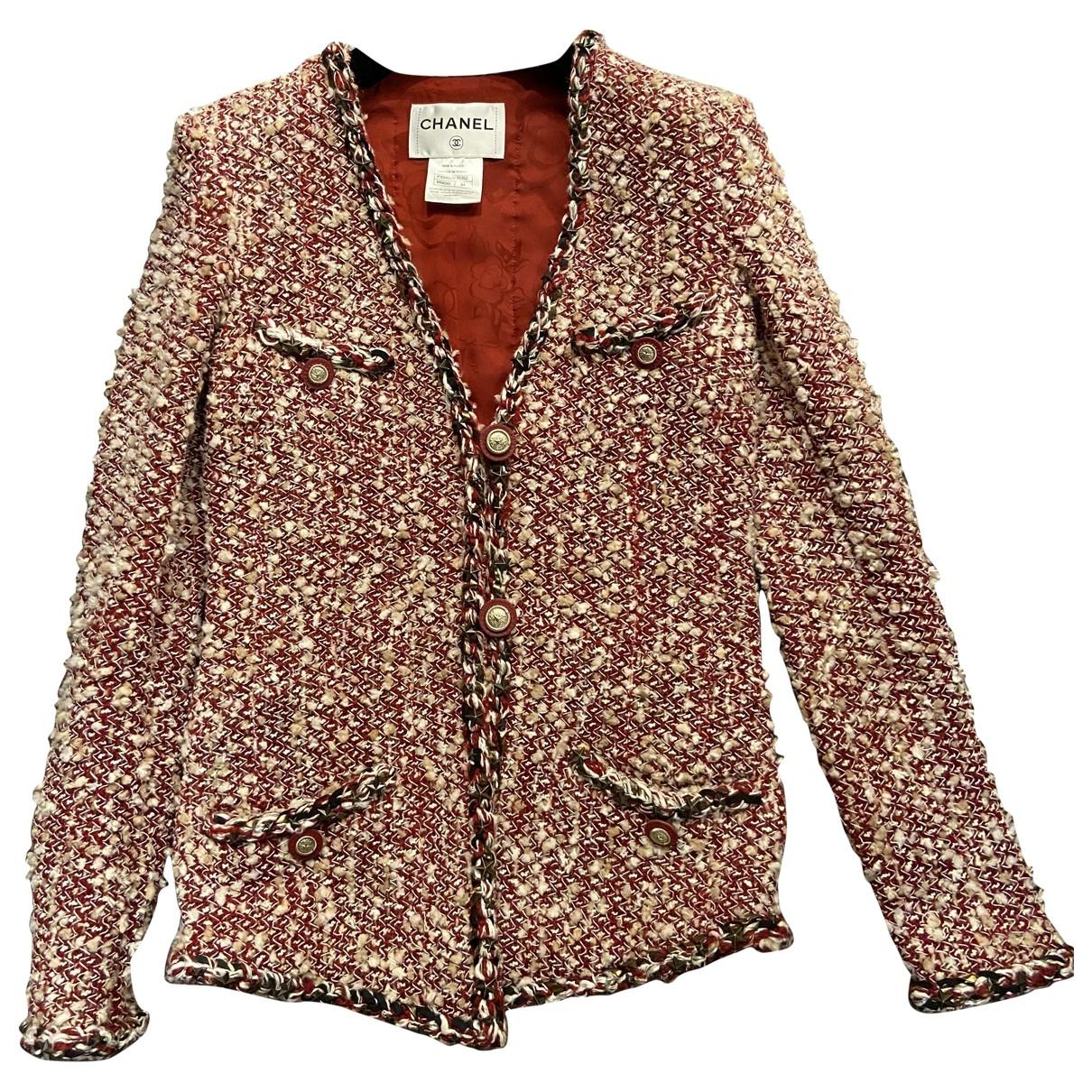 Chanel - Veste   pour femme en laine - rouge