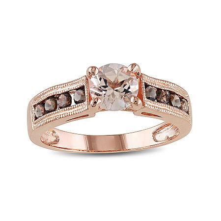 Genuine Morganite and Smoky Quartz 14K Rose Gold Over Sterling Silver Ring, 7 , No Color Family