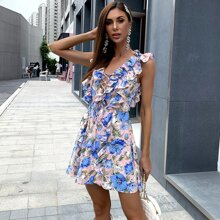 Kleid mit Band, Knoten, Rueschenbesatz und Blumen Muster