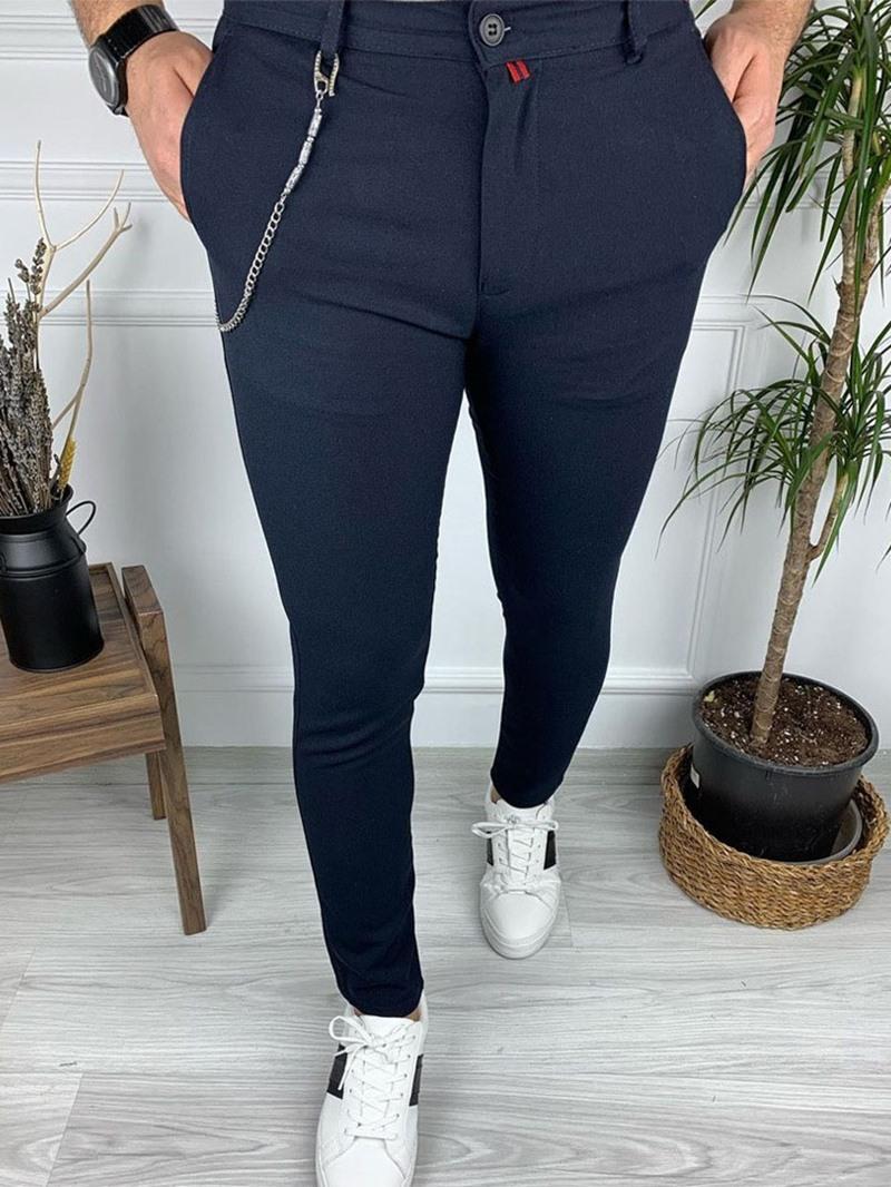 Ericdress Plain Pencil Pants Mid Waist Casual Men's Pants