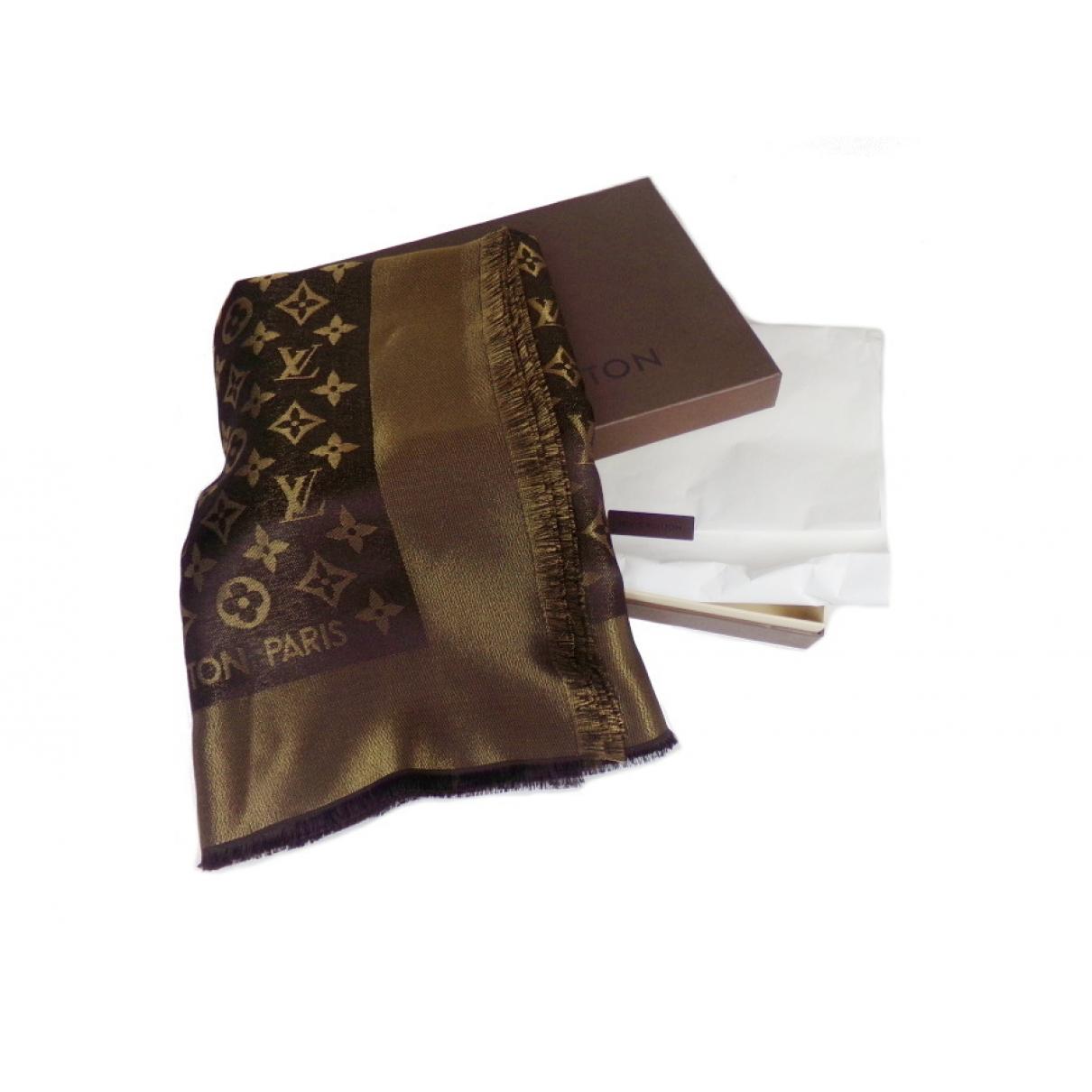 Louis Vuitton Châle Monogram shine Brown Silk scarf for Women \N