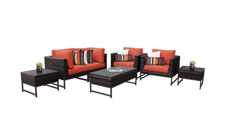 Barcelona BARCELONA-07d-BRN-TANGERINE 7-Piece Patio Set 07d with 2 Corner Chairs  2 Club Chairs  2 End Tables and 1 Coffee Table - Beige and