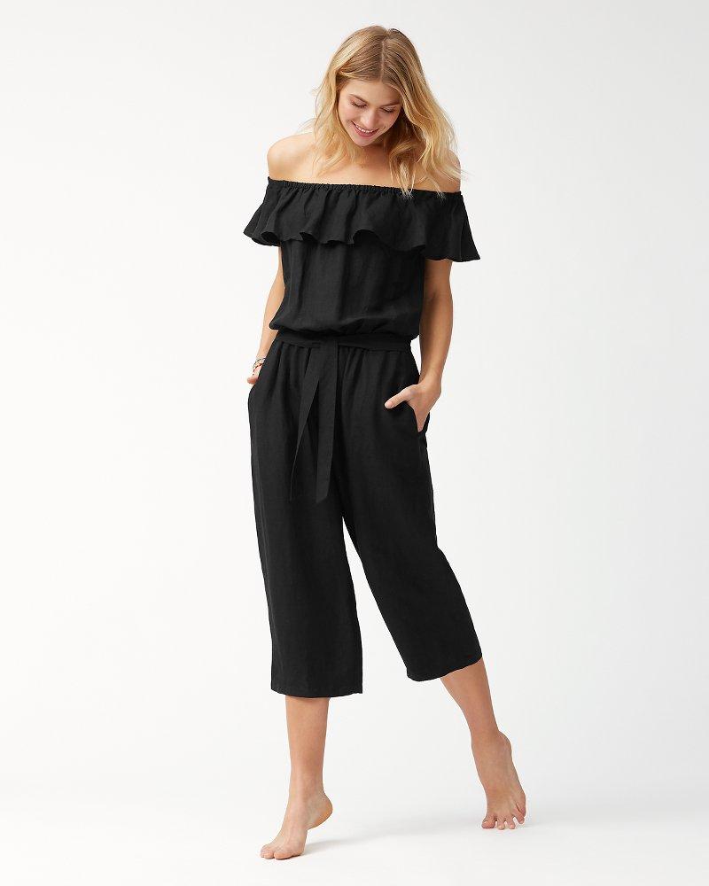 Linen-Blend Off-The-Shoulder Cropped Jumpsuit