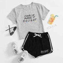 Girls Slogan Graphic Top & Dolphin Shorts Set