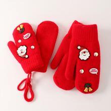 2pairs Parent-toddler Kids Christmas Santa Claus Decor Gloves