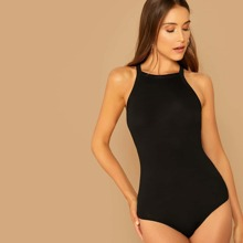 Solid Form Fitted Halter Bodysuit