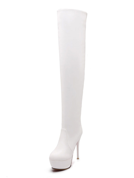 Milanoo Platform Thigh High Boots Womens PU Almond Toe Stiletto Heel Over The Knee Boots