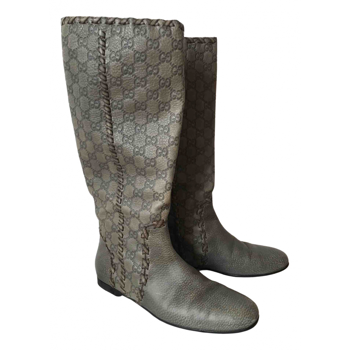 Gucci \N Green Leather Boots for Women 40 IT