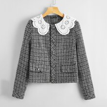 Eyelet Embroidery Sailor Collar Button Front Tweed Jacket
