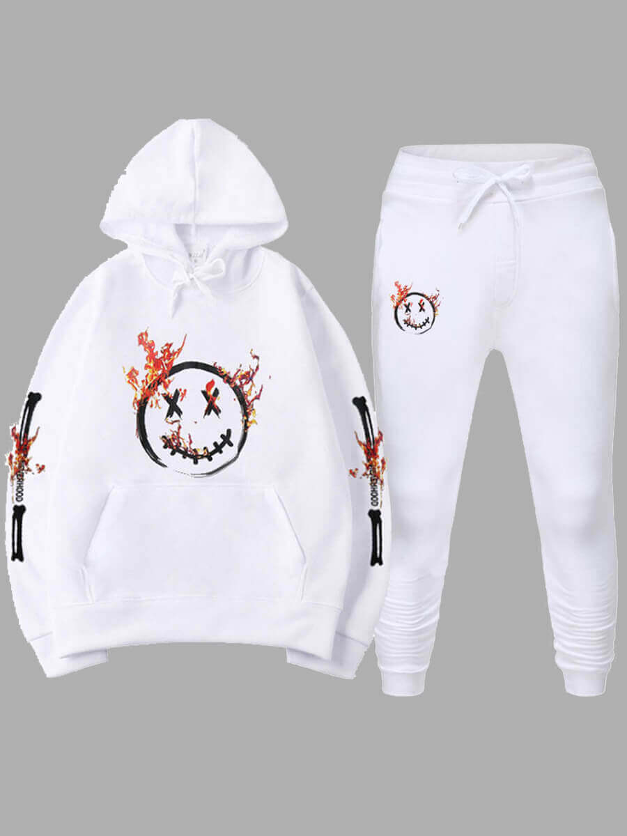 LW Lovely Casual Hooded Collar Letter Print White Plus Size Two-piece Pants Set