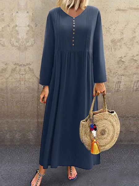 Milanoo Women Maxi Dresses Long Sleeves Dark Navy V-Neck Buttons Layered Cotton Floor Length Dress