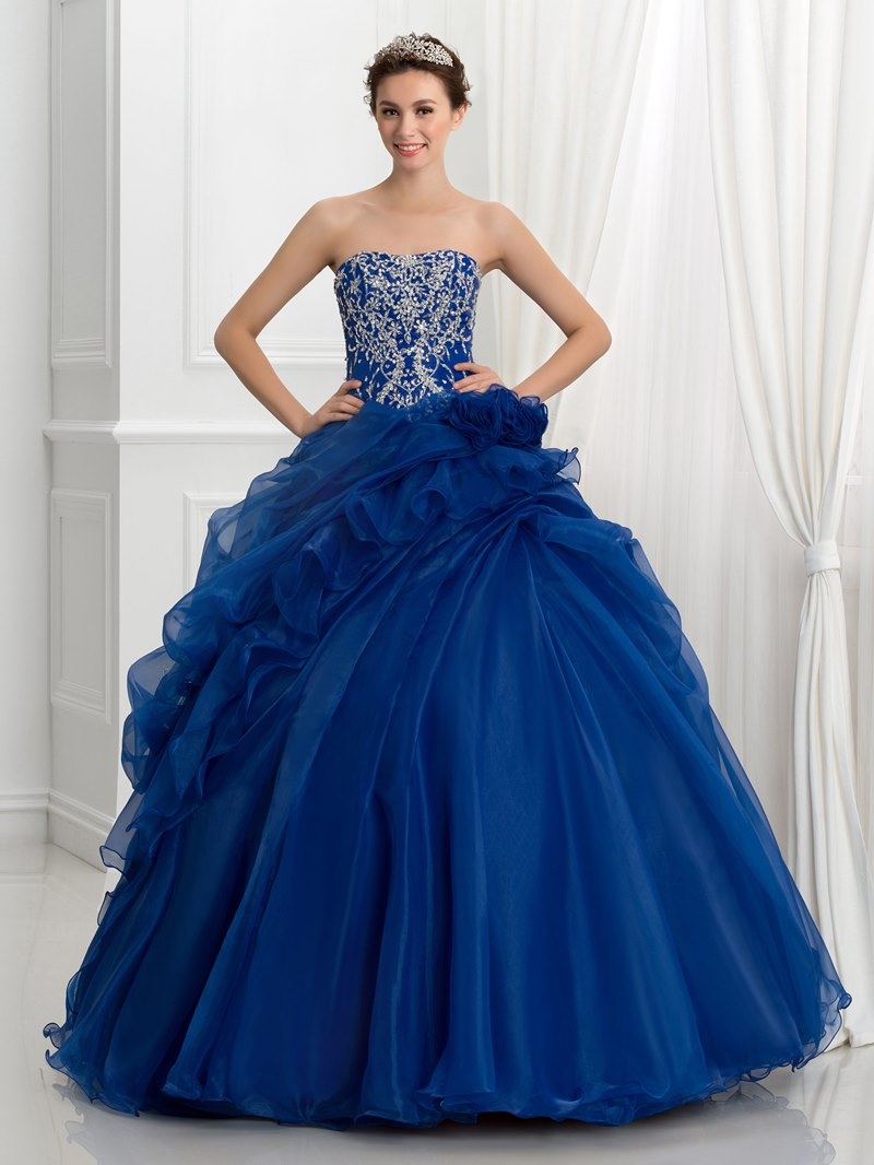 Ericdress Strapless Sequins Embroidery Pick-Ups Ball Gown Quinceanera Dress