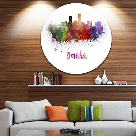 Design Art Omaha Skyline Disc Cityscape Circle Metal Wall Art, One Size , Purple