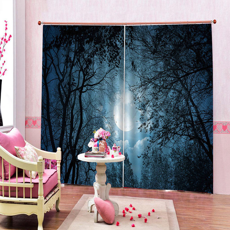3D Night Scenery of The Forest Blackout Decoration 2 Panels Curtain Drapes for Living Room No Pilling No Fading No off-lining