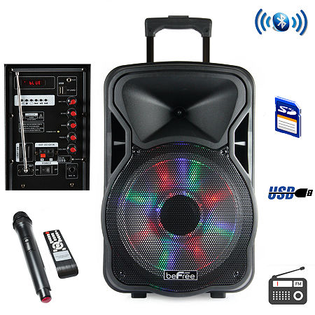 beFree Sound 12 Inch Bluetooth Rechargeable Party Speaker With Illuminatiing Lights, One Size , Black