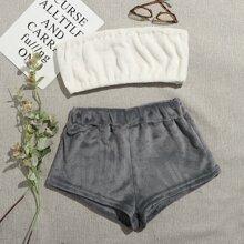 Schlafanzug Set Tube Top & Shorts mit Buchstaben Stickereien