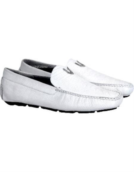 Men's Handmade White Vestigium Genuine Ostrich Leg Loafers