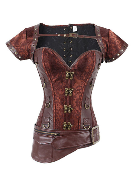 Milanoo Brown Steampunk Corset Metallic Jacquard Zipper Women Retro Costume