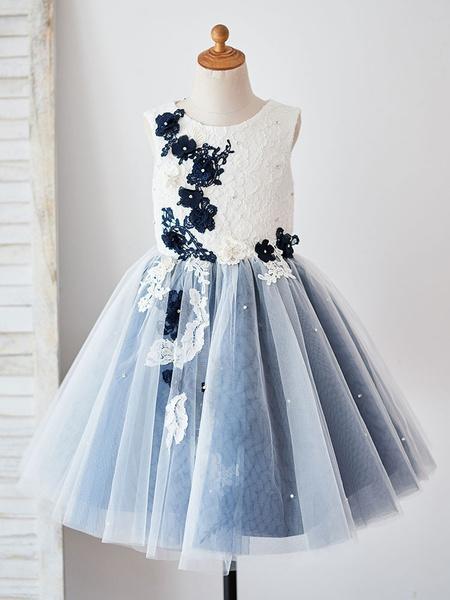 Milanoo Vestidos de niña de flores Cuello joya Sin mangas Perlas Vestidos de fiesta social para niños