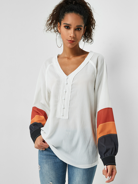 Yoins White V-neck Button Up Puff Sleeves Colorblock Top