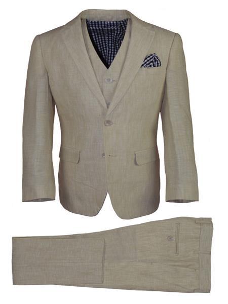 Mens Notch Lapel 3 Button Vest Tan Linen Suit And Pant
