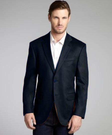 Charcoal Wool and Cashmere Blend 2 Button Blazer
