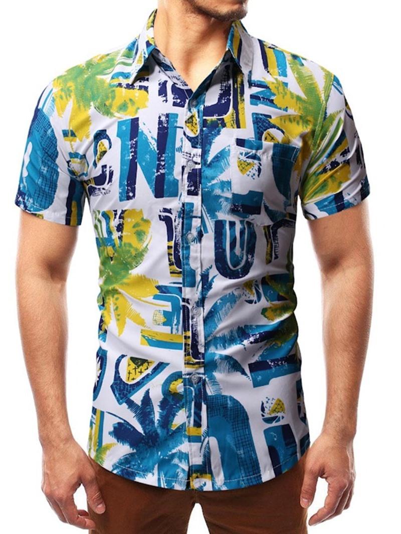 Ericdress Print Letter Men's Casual Summer Slim Shirt