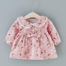 Toddler Girls Rabbit And Carrot Print Bow Front Babydoll Dress